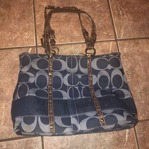 Coach denim monogram purse